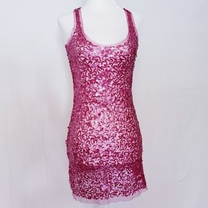 Arden B. Pink Sequin Racerback Mini Dress